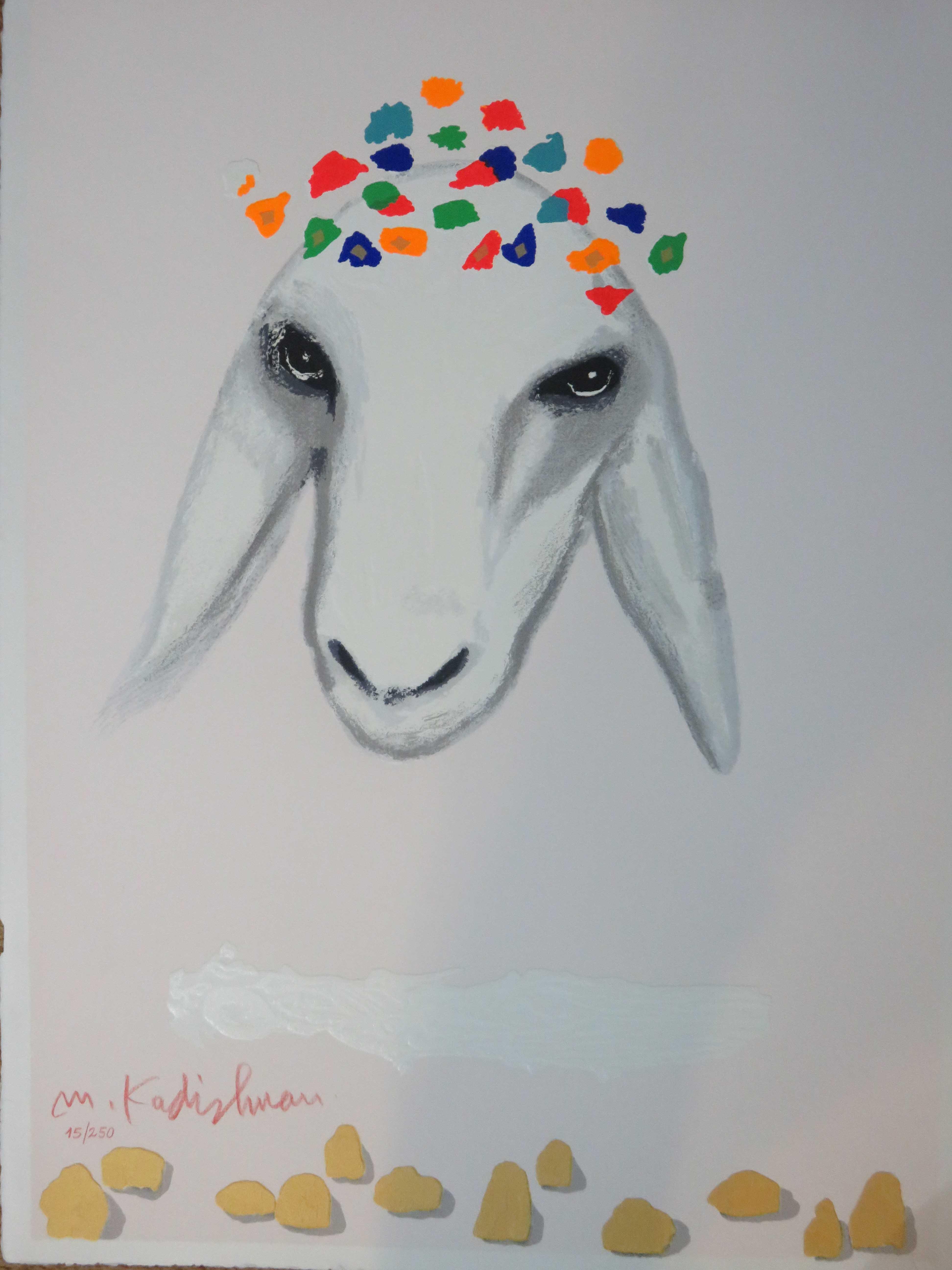 בנפט ליטוגרפיה של קדישמן למכירה - כבשה לבנה עם זר - הגלריה און ליין RV-69